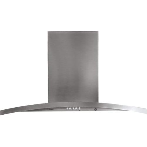"GE Profile 36"" Stainless Steel Island Chimney Venthood with Vertifcal Exhaust"