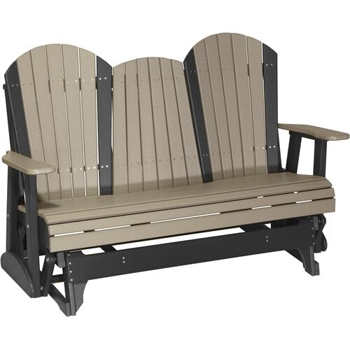 Adirondack Glider 5' Weatherwood and Black