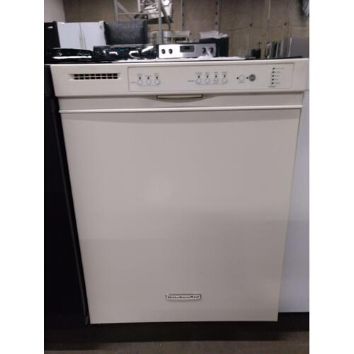 Almond KitchenAide Dishwasher Stainless Interior   (This may be a Stock Photo, actual unit (s) appearance may contain cosmetic blemishes. Please call store if you would like additional pictures). This unit carries our 6 Month warranty, MANUFACTURER WARRANTY and REBATE NOT VALID with this item.