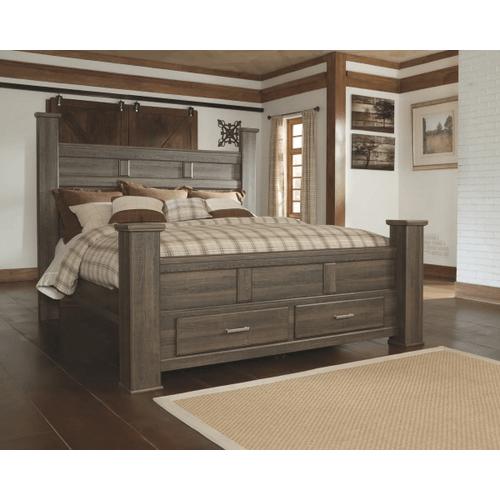 Juararo- Dark Brown- King Poster Bed with 2 Storage Drawers