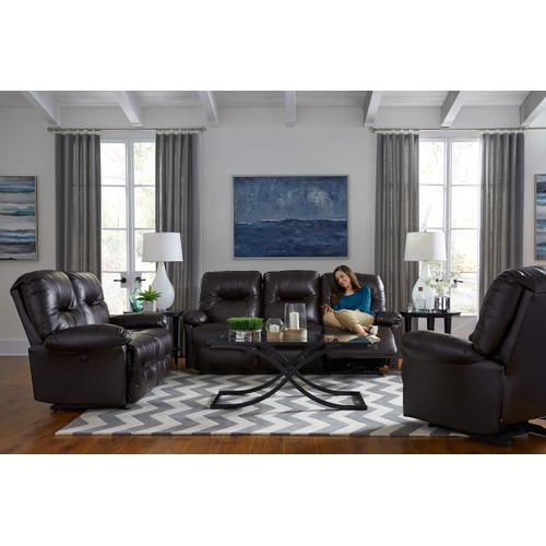Zaynah Reclining Leather Loveseat (Walnut)
