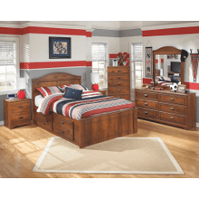 Barchan- Medium Brown- Dresser, Mirror, Chest, Nightstand & Full Panel Bed with Storage Drawers