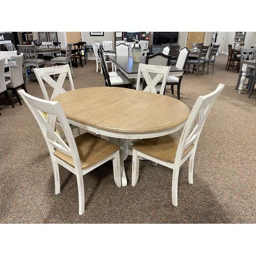 John Thomas Furniture - DINETTE WITH 4 X-BACK CHAIRS