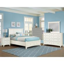King White 4 PC Bedroom Set - Panel Bed with Storage Footboard