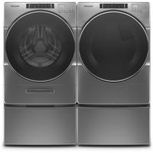 WHIRLPOOL Load & Go XL Plus Dispenser 4.3 Cu.Ft. Front Load Washer & 7.4 Cu.Ft. Electric Dryer with Pedestals - Chrome Shadow