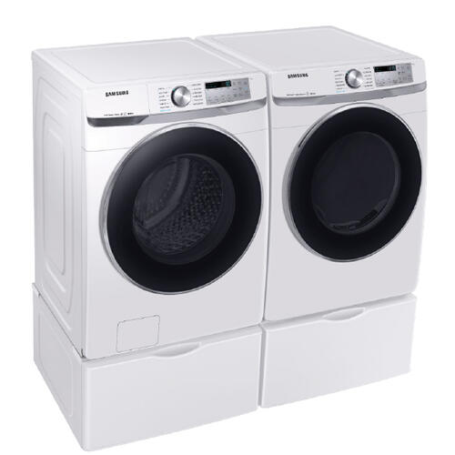 SAMSUNG Super Speed 4.5 Cu.Ft. Front Load Washer & 7.5 Cu.Ft. Electric Dryer with Pedestals - White
