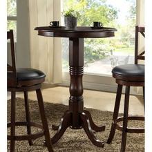 Adjustable Column Distressed Walnut Pub Table