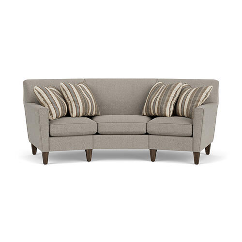 Flexsteel - Digby Conversation Sofa in Gray Quarry Fabric with Pillows in Brown Flannel Fabric