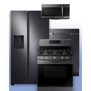 SAMSUNG - Get a Visa Reward Card for 10% off the purchase price of any Samsung 4-piece kitchen package. See Black Stainless Side-by-Side Refrigerator and Gas Range Example.
