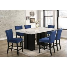 Ninely - Marble Counter-Height Table w/6 Blue Side Upholstered Chairs