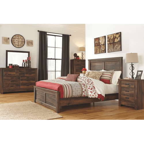 Quinden- Dark Brown- Dresser, Mirror, Chest, Nightstand & King Panel Bed
