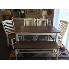"""Champlain collection 36""""x60"""" table with 4 chairs and bench"""