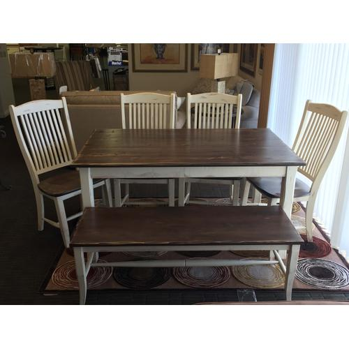 """Gallery - Champlain collection 36""""x60"""" table with 4 chairs and bench"""