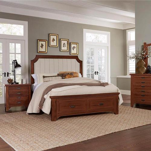 Cherry & Pinstripe Upholstered Bed