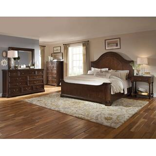 Egerton King Group:  Bed, Dresser, Mirror & 2 Nightstands