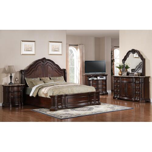 Samuel Lawrence Furniture - EDINGTON KING BEDROOM SET: KING BED, NIGHTSTAND, DRESSER & MIRROR
