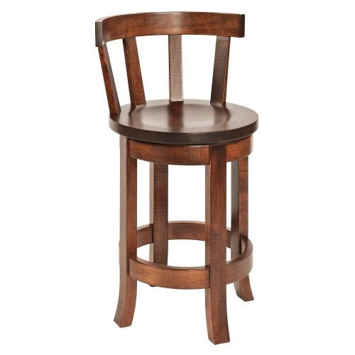 Amish Furniture - Belmont bar stool with shaped wood seat