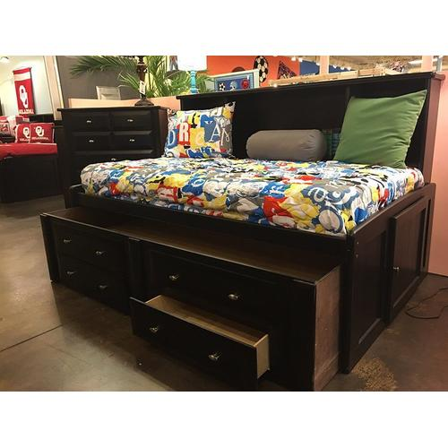 """Twin Captains Bed W""""Trundle & Drawers Black Cherry"""