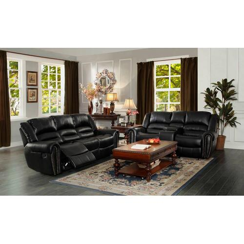 Center Hill- Black Reclining Sofa and Loveseat