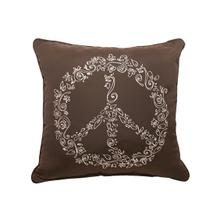 "Peace Embroidery 18""x18"" - Canvas Bay Brown"