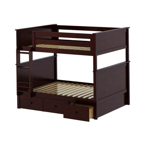 Jackpot Kent Full/Full Bunk   3 Drawer Storage In Cherry Finish