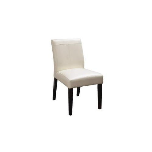 WHITE BONDED LEATHER DINING CHAIR