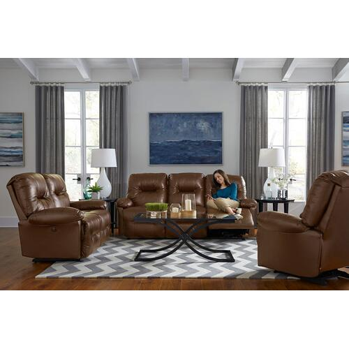 Zaynah Power Reclining Leather Sofa (Saddle)