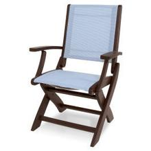 View Product - Coastal Folding Chair in Mahogany / Poolside Sling
