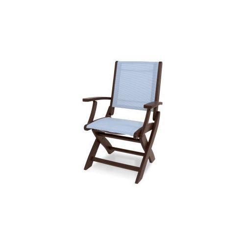Polywood Furnishings - Coastal Folding Chair in Mahogany / Poolside Sling