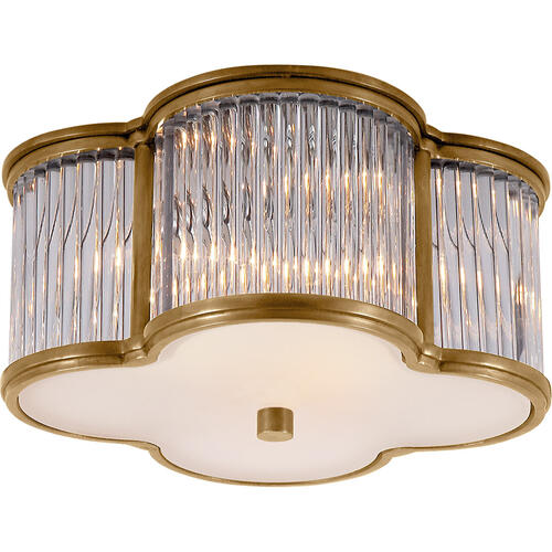 Visual Comfort - Alexa Hampton Basil 2 Light 11 inch Natural Brass with Clear Glass Flush Mount Ceiling Light in Natural Brass and Clear Glass