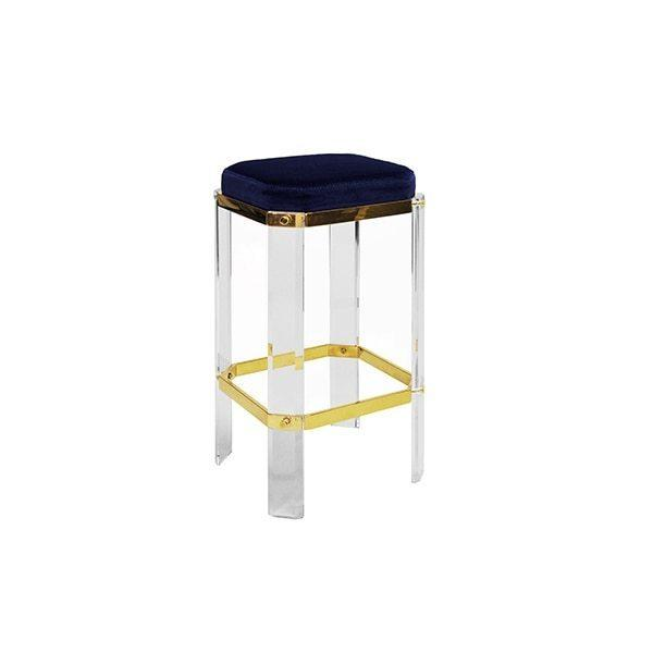 With A Nod To Hollywood's Golden Age, Our Opulent Dorsey Counter Stool Will Channel Your Inner Celebrity. Faceted Lucite Legs Are Studded With Polished Brass Accents, and Its Luxurious Navy Velvet Cushion Finishes This Glamour Shot.
