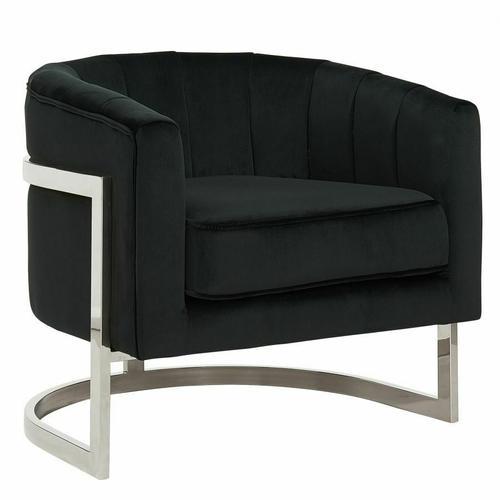 Worldwide Homefurnishings - Tarra Accent Chair in Black/Chrome