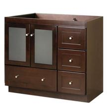 """View Product - Shaker 30"""" Bathroom Vanity Cabinet Base in Dark Cherry - Frosted Glass Doors on Left"""