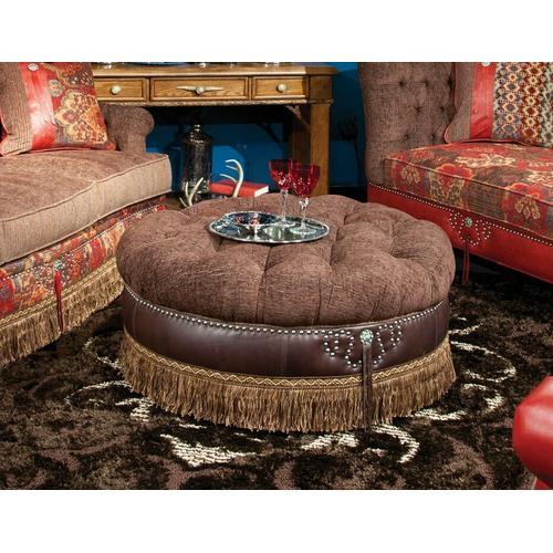 Cecilia (Leather) Round-Button-Tufted Ottoman