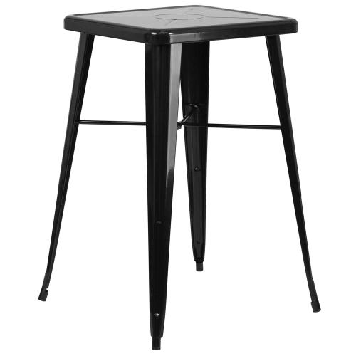 Alamont Furniture - 23.75'' Square Black Metal Indoor-Outdoor Bar Height Table