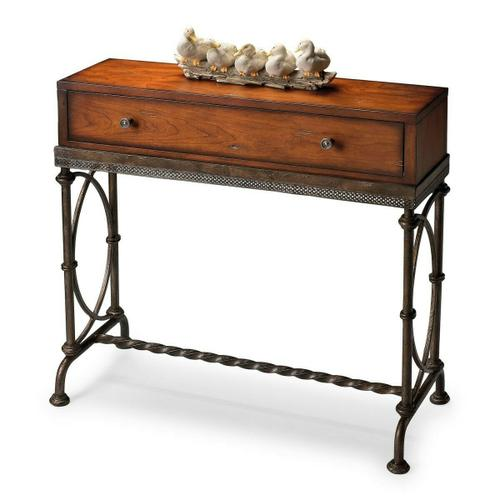 Butler Specialty Company - Physically distressed finish on selected solid woods, wood products and choice cherry veneers. Dark grey textured finish metal base. Drawer with antique brass finished hardware.