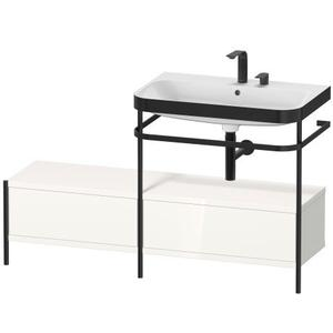 Furniture Washbasin C-bonded With Metal Console Floorstanding, White High Gloss (decor)