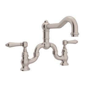Satin Nickel Acqui Deck Mount Column Spout Bridge Kitchen Faucet with Metal Lever