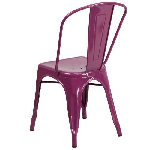 Purple Metal Indoor-Outdoor Stackable Chair