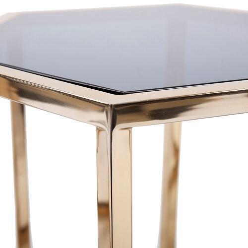 Howard Elliott - Hexagonal Gold Stainless Steel Table Set