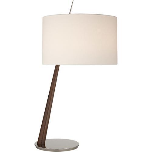 Barbara Barry Stylus 33 inch 75 watt Dark Walnut Table Lamp Portable Light in Polished Nickel, Large Angled