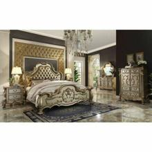 ACME Dresden California King Bed - 23154CK - Bone PU & Gold Patina