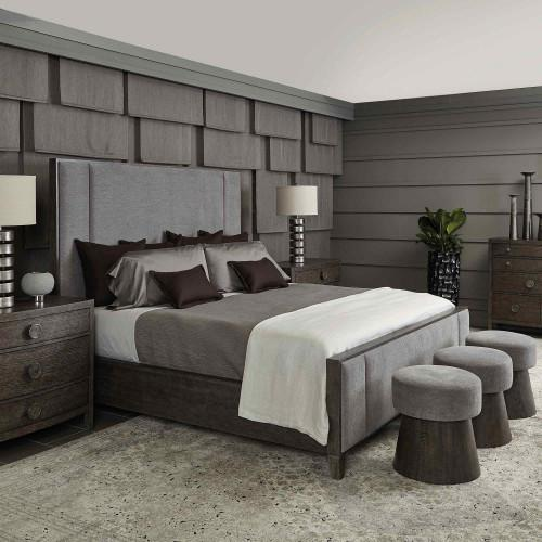 King-Sized Linea Upholstered Panel Bed in Cerused Charcoal (384)