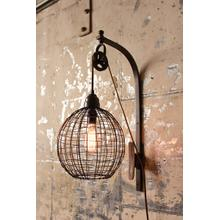 See Details - wire sphere wall sconce with pulley
