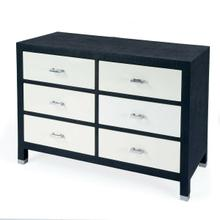 See Details - Bring a whole lot of texture to your bedroom or guestroom with this stunning Keros 6 Drawer Navy Raffia Dresser. With 6 felt-lined drawers on metal glides and 3/4 extensinon, it offers ample strorage for all your possessions. The crisp white drawer fronts adorned with silver drawer pulls give it a pop of modern while the navy dyed Raffia is meticulously handwrapped around the wood frame to give it texture and dimension that fits within many aesthetics.