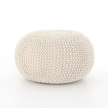 White Cover Jute Knit Pouf