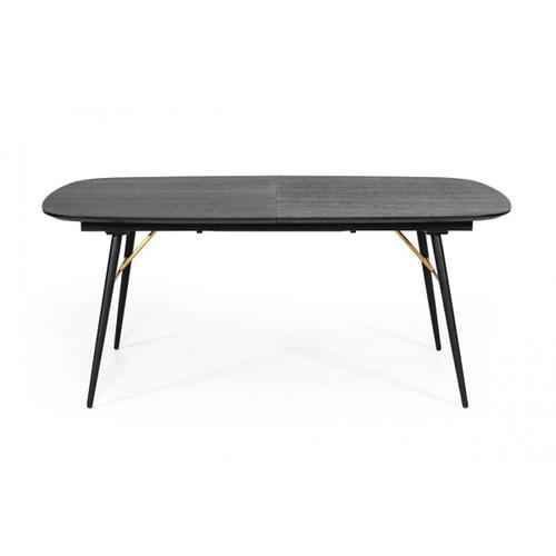 VIG Furniture - Modrest Billy Modern Black Oak & Gold Extendable Dining Table