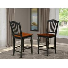 """Chelsea Stools with wood seat, 24"""" seat height - Black Finish"""