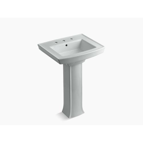 "Ice Grey Pedestal Bathroom Sink With 8"" Widespread Faucet Holes"