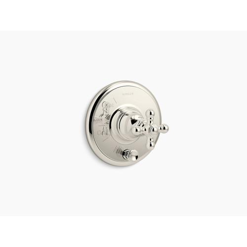 Kohler - Vibrant Polished Nickel Rite-temp Valve Trim With Push-button Diverter and Cross Handle, Valve Not Included